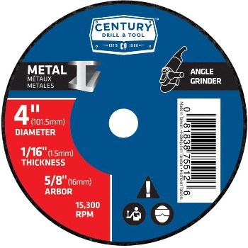Century Drill & Tool   75512 4x1/16 Metal Grind Wheel 75512