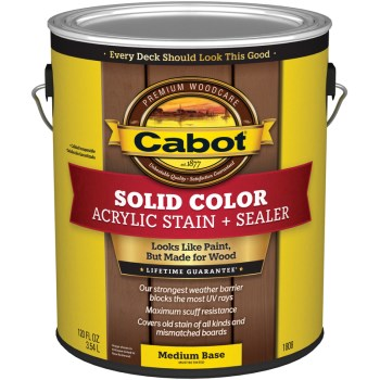 Cabot 140.0001808.007 Solid Color Acrylic Deck Stain,  Medium Base ~ Gallon