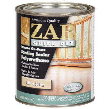 Buy the zar 26212 quick dry polyurethane sanding sealer satin quart hardware world for Zar exterior water based polyurethane