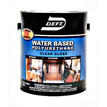 Upc 037125257019 deft 257 01 water based polyurethane interior exterior gloss 1 gallon for Exterior polyurethane wood finish