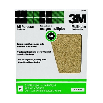 3M 051144885916 Sandpaper, All Purpose ~ 60 grit