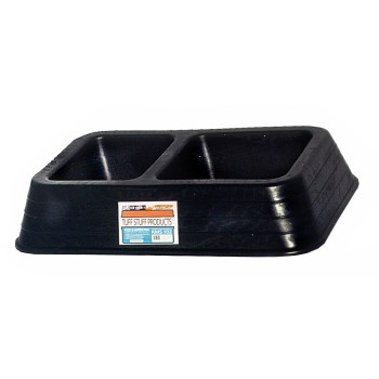"Double Dish Feed Pan, Black ~ 14 1/4"" W x 21"" L x   4 1/2"" H"