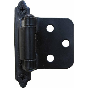 Self Closing  Flush/Overlay Hinge,  Black