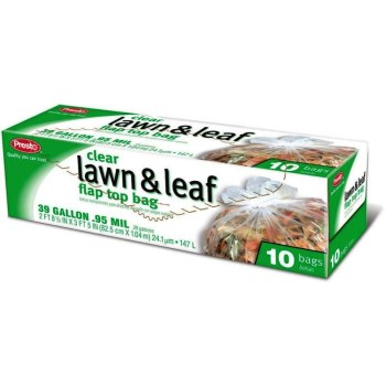 Lawn & Leaf Clear Trash Bags, Flap Top ~ 39 Gallon Size