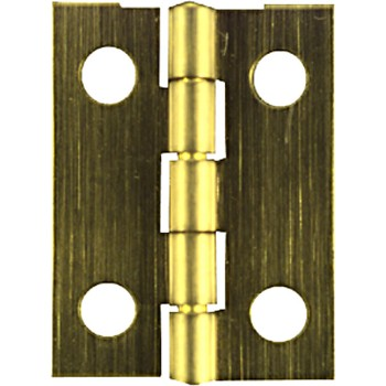"Narrow Hinge - Solid Brass w/Ant. Brass - 1"" x .75"""