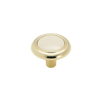 Knob - Polished Brass Finish with Almond Plastic Insert