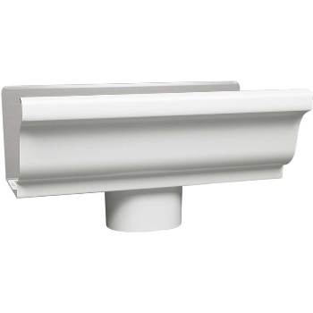 Amerimax  Style K Aluminum Gutter End with Outlet, White ~ 5 inch