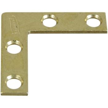 "National 190868 Flat Corner Brace, Brass ~ 1-1/2"" x 3/8"""