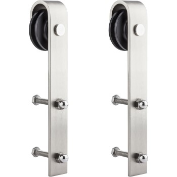 Sliding Door Strap Hangers Hardware,  Satin Nickel Finish