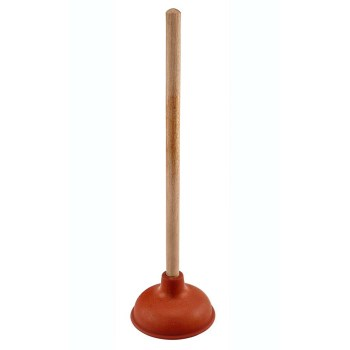 "AquaPlumb Red Rubber 5"" Cup Plunger  ~  18"" Handle"