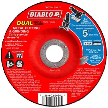 "Freud/Diablo DBD050125X01F Diablo Type 27 Duo Cut/Grind Disc ~ 5"" x 7/8"" Arbor"