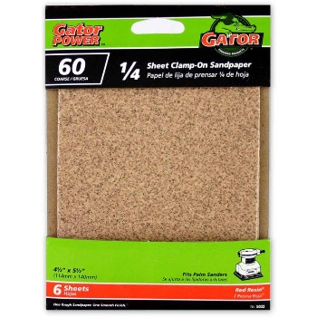Ali Industries 5033 60 Grit 1/4 Sandpaper ~ 6 Pack