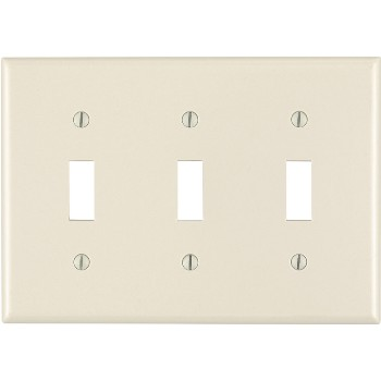 Three-Toggle Switch Plate ~ Light Almond