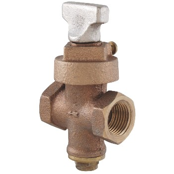 "LDR  0216904 Ground Key Stop & Drain Valve, Bronze  ~ 3/4"" FIP x FIP"