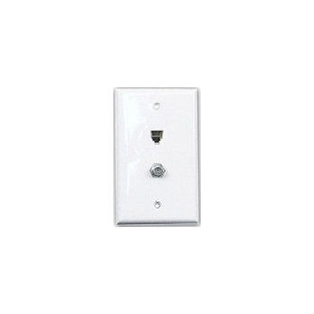 Coax and Phone Wall Plate ~ White