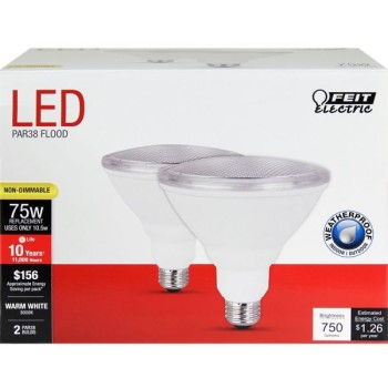 Feit Electric  PAR3875/10KLED/2 Weather-Proof Non-Dimmable LED Bulbs, Par 38 ~ 75 W Equivalent