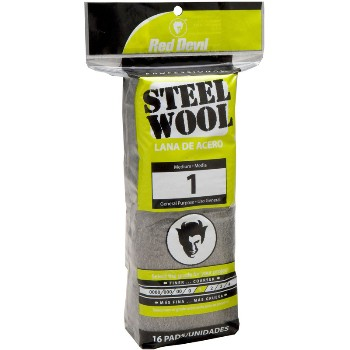 Steel Wool Pads,  #1 Medium  ~ 16 Pads/Pack