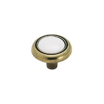 Knob - Burnished Brass Finish with Ceramic Inset - 1.25 inch