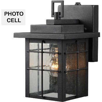 Square Lantern w/Photo Cell, Black Finish ~ One Light