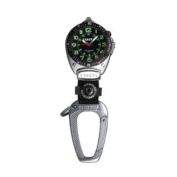 Big Face Clip, Black EL Military Dial, Silver Case, Compass