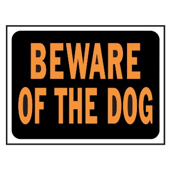 Beware Dog Sign, Plastic 9 x 12 inch