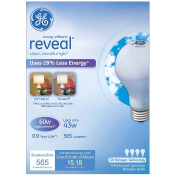 General Electric  67770 Reveal Energy Efficient Halogen Light Bulb - 43 watt/60 watt