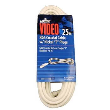 RG6 Coax Cable & F Plug, White ~ 25 Ft