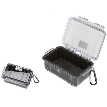 "Micro Storage Case, Black/Clear  ~ 6.3"" x 3.68"" x  2.75"""