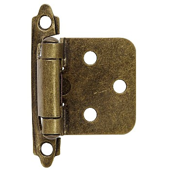 Flush Cabinet Hinge, Antique Brass