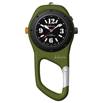 Military Mini Clip, Black Dial, Green Case
