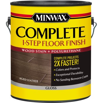 Minwax Complete One-Step Gloss Floor Finish, Aged Leather ~ Gallon