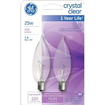General Electric  66104 Bent Tip CA10 Decorative Bulb - 25 watt ~ Clear