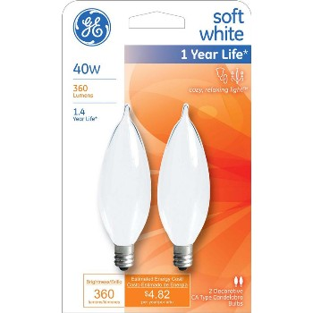 Bent Tip CA10 Decorative Bulb - 40 watt ~ Frosted