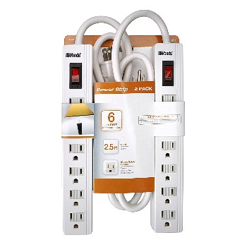 Power Strip ~ 6 Outlet,  2-Pack