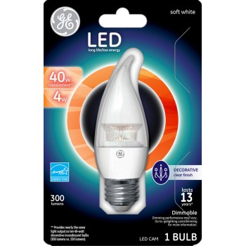 LED CAM Chandelier Bulb - 4 watt/40 watt ~ Clear