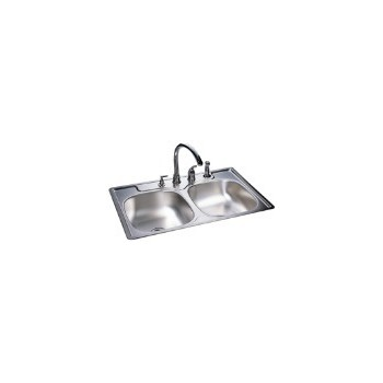 Sink, Double Bowl Stainless Steel 33 x 22 x 8