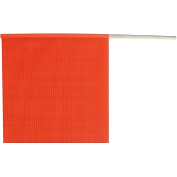 "Fluorescent Orange Safety Flag on a Dowel  ~ 18"" x 18"""