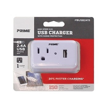1 Outlet & USB Surge Tap Charger ~ 150 Joules