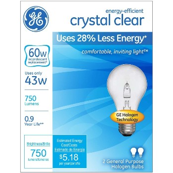 Halogen Bulb, Clear Energy Efficient ~ A19 + 43 Watt