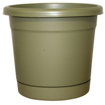 Dynamic Design Rolled Rim Resin Planter, Olive Green  ~ Approx 16""