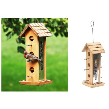 "Perky-Pet®  Wood Tin Jay Bird Feeder ~ Approx 15.13""H x 6.47""D x 7.71""W"