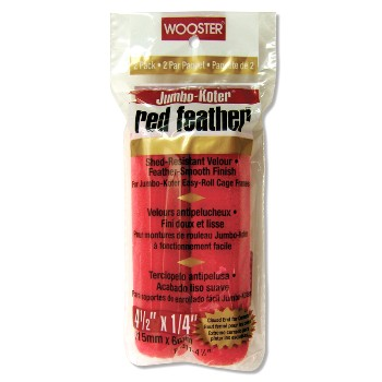 "Jumbo Koter Red Feather Roller Covers  ~ 4 1/2"" x 1/4"" Nap"