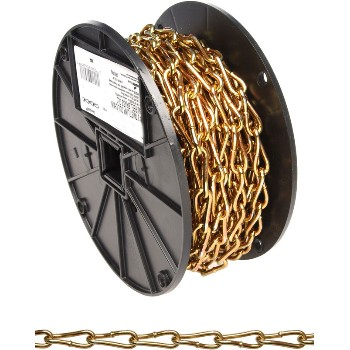Twist Link Coil Chain, Brass Glo Finish  ~ #3 x 50 Ft