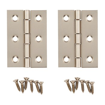 "Decorative Broad Hinges,  Satin Nickel ~ 2"" x 1 3/8"""