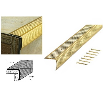 Stair Edging, Satin Brass Finish ~  1 1/8""