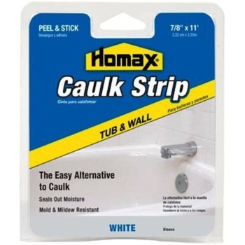 "Tub & Wall Caulk Strip, White  ~ 7/8"" x 11 Ft."