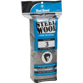 Steel Wool Pads,  #3 Coarse ~ 16 Pads/Pack