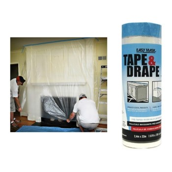 Tape & Drape Pre-Taped Masking Film ~ 8 Ft x 75 Ft x .5 Mil