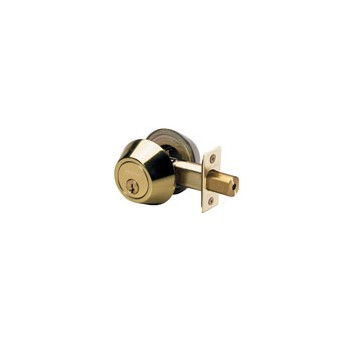 Double Cylinder Deadbolt, Polished Brass