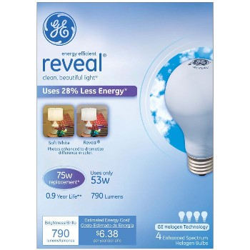 General Electric  67773 Reveal Energy Efficient Halogen Light Bulb - 53 watt/75 watt